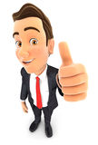 3d businessman positive pose. With thumb up, isolated white background Stock Image