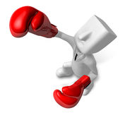 3d Businessman powerful punch. 3D Square Man Series. Stock Photos
