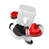 3d Businessman powerful punch. 3D Square Man Series. Royalty Free Stock Photography