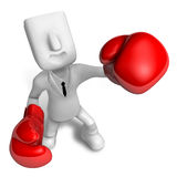 3d Businessman powerful punch. 3D Square Man Series. Royalty Free Stock Images