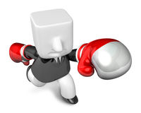 3d Businessman powerful punch. 3D Square Man Series. Royalty Free Stock Photos