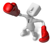 3d Businessman powerful punch. 3D Square Man Series. Royalty Free Stock Photo