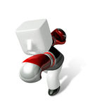 3d Businessman powerful punch. 3D Square Man Series. Stock Photography