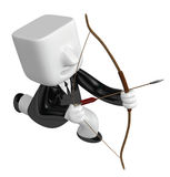 3d Businessman prepare for shooting an arrow. 3D Square Man Seri Royalty Free Stock Photos