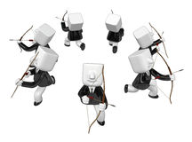 3d Businessman prepare for shooting an arrow. 3D Square Man Seri Stock Image