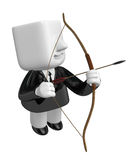 3d Businessman prepare for shooting an arrow. 3D Square Man Seri Royalty Free Stock Photography