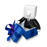 3d Businessman and present box on white background. 3D Square Ma Royalty Free Stock Photography