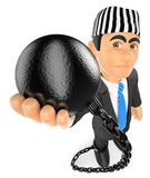 3D Businessman with prisoner ball. Corrupt politician. 3d business people illustration. Businessman with prisoner ball. Corrupt politician. White background Stock Photo