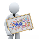 3d businessman and project management word tags. 3d Illustration of man holding project management wordcloud word tags board. 3d rendering of human people Stock Images