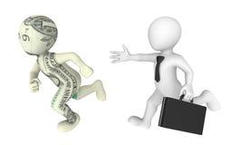 3d businessman pursues dollar cartoon character. Stock Photo