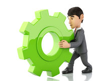 3d businessman pushes a red gear. 3d renderer image. businessman pushes a gear. Business concept.  white background Stock Photo