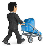 3D Businessman pushing a baby stroller. 3d business people illustration. Businessman pushing a baby stroller. White background Stock Photography