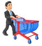 3D Businessman pushing a shopping cart Stock Photos
