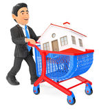 3D Businessman pushing a shopping cart with a house. Real estate Stock Image