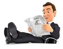 3d businessman reading newspaper with feet on desk Royalty Free Stock Photos