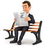 3d businessman reading newspaper on public bench. Illustration with isolated white background Royalty Free Stock Photo