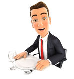 3d businessman ready for dinner. White background Royalty Free Stock Image