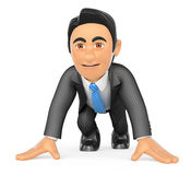 3D Businessman ready at the start of a race. 3d business people. Businessman ready at the start of a race. White background Royalty Free Stock Photos