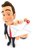 3d businessman receiving one new message. Isolated white background Royalty Free Stock Photo