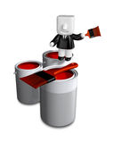 3d Businessman with red paint splashing in paint. 3D Square Man Stock Images