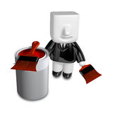 3d Businessman with red paint splashing in paint. 3D Square Man Stock Photos