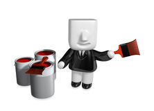 3d Businessman with red paint splashing in paint. 3D Square Man Stock Photography