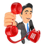 3D Businessman with a red telephone. Call concept. 3d business people illustration. Businessman with a red telephone. Call concept. White background Royalty Free Stock Photography