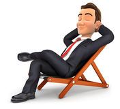 3d businessman relaxing in a deck chair. Illustration with isolated white background Royalty Free Stock Photo