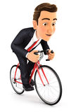 3d businessman riding a bike. White background Stock Images