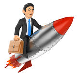 3D Businessman riding a rocket. 3d business people. Businessman riding a rocket.  white background Royalty Free Stock Image