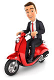 3d businessman riding a scooter. Illustration with isolated white background Royalty Free Stock Photo