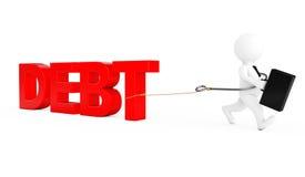 3d Businessman Run from Debt Sign. 3d Rendering. 3d Businessman Run from Debt Sign on a white background. 3d Rendering Royalty Free Stock Photo