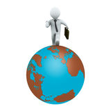 Businessman running on earth. 3d businessman is running around the globe Royalty Free Stock Image