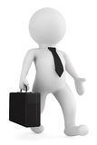 3d businessman running with a briefcase in his hand Stock Photos