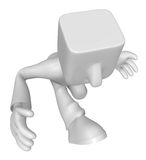 3d Businessman in the running. 3D Square Man Series. Stock Images