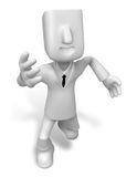 3d Businessman in the running. 3D Square Man Series. Royalty Free Stock Image