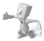 3d Businessman in the running. 3D Square Man Series. Stock Photos