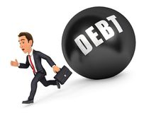 3d businessman running in front of debt. Illustration with isolated white background Stock Photography