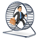 3D Businessman running on a hamster wheel. 3d business people illustration. Businessman running on a hamster wheel. White background Stock Image