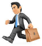 3D Businessman running with his briefcase. 3d business people. Businessman running with his briefcase in a hurry. White background Stock Photography