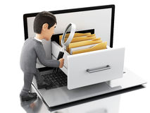 3d Businessman searching folders in a laptop. Royalty Free Stock Image