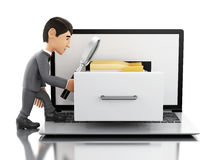 3d Businessman searching folders in a laptop. Royalty Free Stock Photo