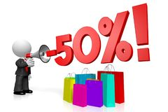 3D sale/ fifty percent off concept. 3D businessman, shopping bags - 50% off concept - great for topics like sale/ advertising etc Royalty Free Stock Images