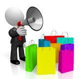 3D businessman, shopping bags - sale concept. 3D businessman holding a megaphone, shopping bags - great for topics like sale/ advertising etc Stock Photography