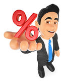 3D Businessman showing in percent symbol. Sales concept. 3d business people illustration. Businessman showing in percent symbol. Sales concept. White background Stock Photography