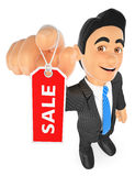 3D Businessman showing a tag with the word sale. 3d business people illustration. Businessman showing a tag with the word sale. White background Royalty Free Stock Photography