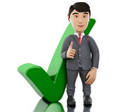 3d Businessman showing thumb up with check mark. 3d Illustration. Businessman showing thumb up with check mark. Business concept.  white background Royalty Free Stock Photography
