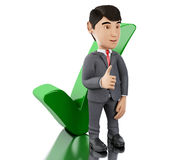 3d Businessman showing thumb up with check mark. 3d Illustration. Businessman showing thumb up with check mark. Business concept.  white background Royalty Free Stock Images