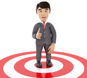 3d Businessman showing thumb up standing on target. Royalty Free Stock Photos