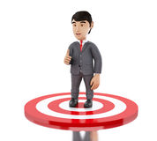 3d Businessman showing thumb up standing on target. Stock Photos